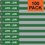 Green 175mm RigTag® 100 pack, printed with APR-JUN