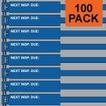 Blue 300mm RigTag® 100 pack, printed with NEXT INSP. DUE :
