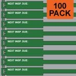 Green 300mm RigTag® 100 pack, printed with NEXT INSP. DUE :