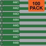 Green 175mm RigTag® 100 pack, printed with a four digit numbering sequence