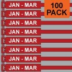Red 300mm RigTag® 100 pack, printed with JAN-MAR