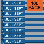 Blue 300mm RigTag® 100 pack, printed with JUL-SEP