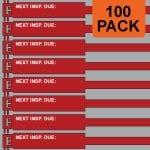 Red 300mm RigTag® 100 pack, printed with NEXT INSP. DUE :