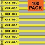 Yellow 175mm RigTag® 100 pack, printed with OCT-DEC