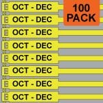 Yellow 300mm RigTag® 100 pack, printed with OCT-DEC