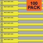 Yellow 175mm RigTag® 100 pack, printed with NEXT INSP. DUE :