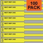 Yellow 300mm RigTag® 100 pack, printed with NEXT INSP. DUE :
