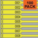 Yellow 300mm RigTag® 100 pack, printed with a four digit numbering sequence