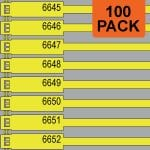 Yellow 175mm RigTag® 100 pack, printed with a four digit numbering sequence