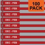Red 175mm RigTag® 100 pack, printed with DEC-FEB
