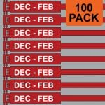 Red 300mm RigTag® 100 pack, printed with DEC - FEB