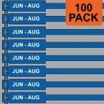 Blue 175mm RigTag® 100 pack, printed with JUN - AUG