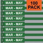 Green 300mm RigTag® 100 pack, printed with MAR - MAY