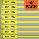 Yellow 175mm RigTag® 100 pack, printed with SEP - NOV