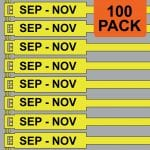 Yellow 300mm RigTag® 100 pack, printed with SEP - NOV